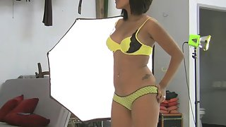 juicy indian girl Nadia stripping naked posing on camera in yellow lingerie