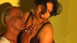 Old man enjoying sex with mature housewife