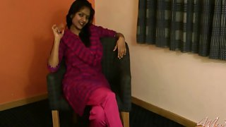 Divya in purple Indian outfits feeling lonely masturbating with her sex toys